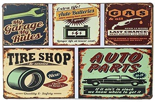 - Rebecca online My Garage My Rules, Auto Batteries, Gas Oil, Tire Shop, Auto Parts Retro Vintage Tin Sign 12