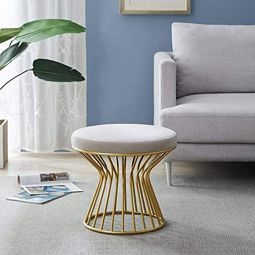Modern Round Ottoman Footrest Stool – Luxurious Velvet Covered Seat w Sturdy Gold Metal Base – No Assembly Required Accent Furniture Perfect for Use in Any Room – Gray Velvet Color