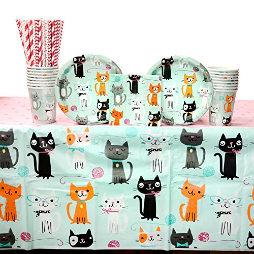 (Purr-fect Birthday Supply Pack for 16 Guests: Straws, Dessert Plates, Beverage Napkins, Cups, Tablecover)