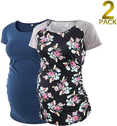 Xiamoor Womens Maternity Shirt Tunics Tops Maternity Workout T Shirts Mama Pregnancy Tops 2 Pack Tops Tees Women
