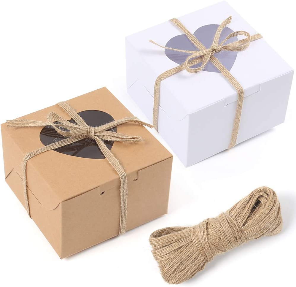 VGoodall 14 PCS White and Brown Bakery Boxes with Window Cupcake Gift Boxes,18M Linen Ribbon for Bakery Wrapping Party Favor Packing