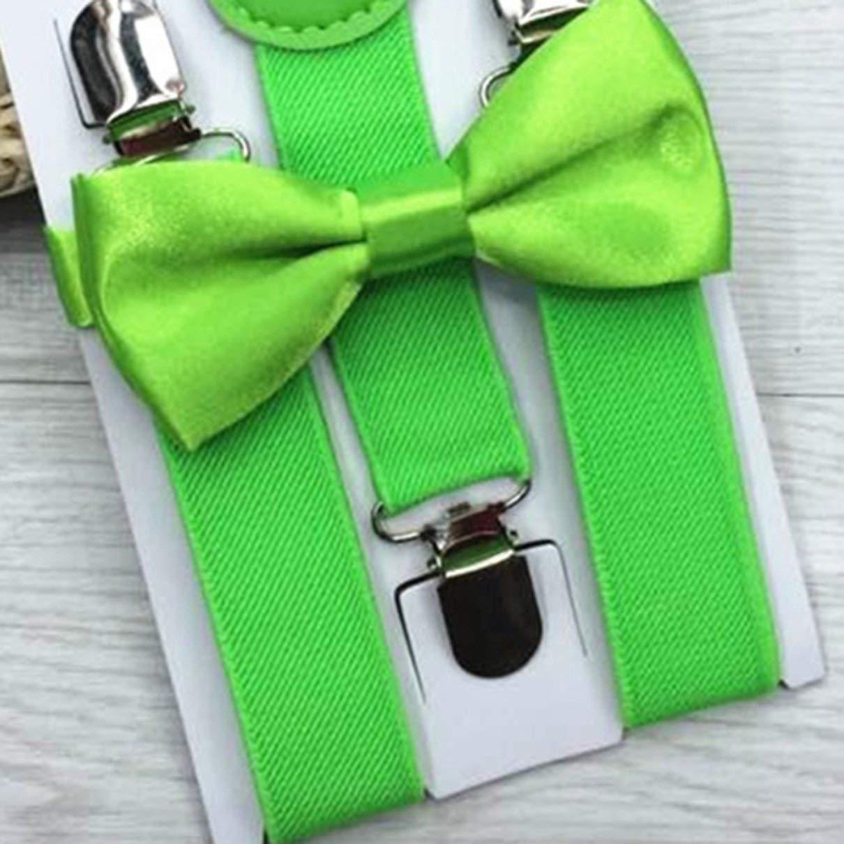 verde fluorescente fghfhfgjdfj Ajustable y el/ástico con clips de metal Tirantes de poli/éster para ni/ños y pajarita Conjunto de pajaritas Conjuntos de corbatas a juego