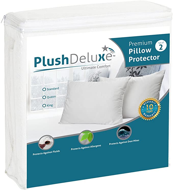 Premium Zippered Cotton Terry Covers Set of 2 Euro Size SureGuard Pillow Protectors Hypoallergenic 10 Year Warranty Bed Bug Proof 100/% Waterproof