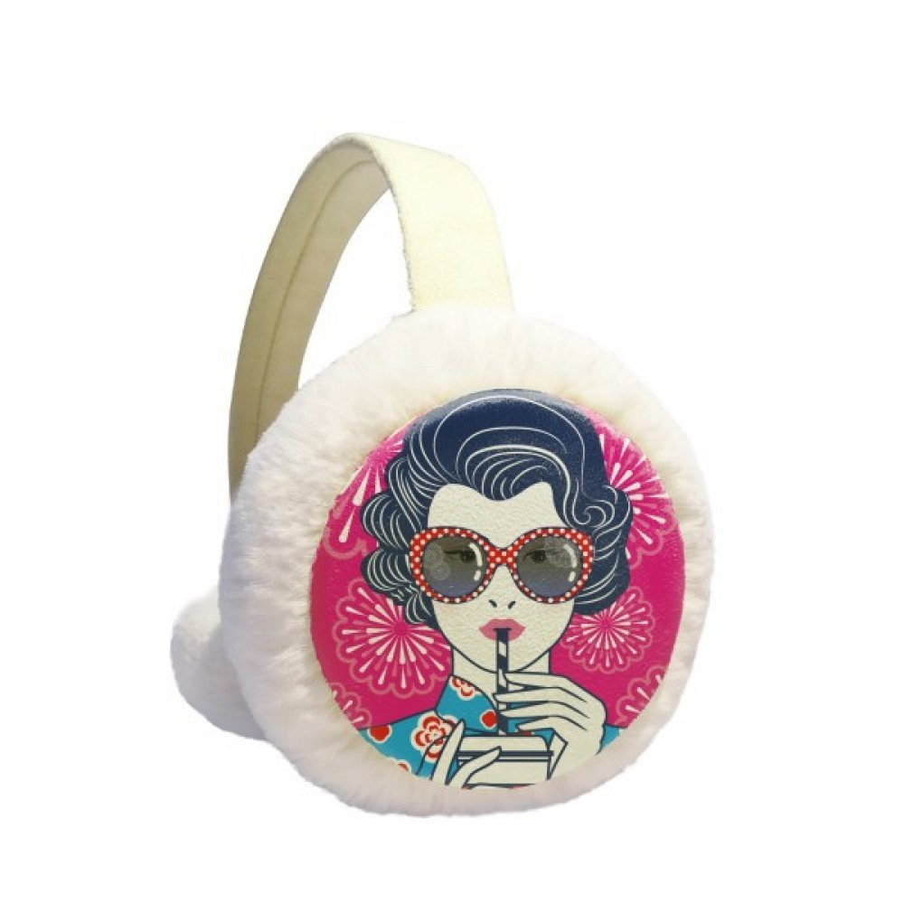 Chinese Culture Red Woman Glasses Winter Earmuffs Ear Warmers Faux Fur Foldable Plush Outdoor Gift