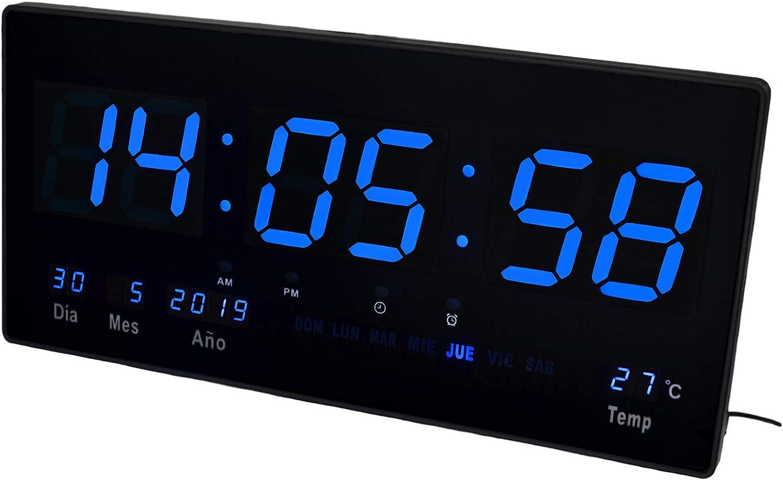 JEVX Reloj Digital de Pared - Grande para Colgar Alarma Luz Color Azul Calendario Termometro Medidor de Temperatura Fuente de Alimentacion