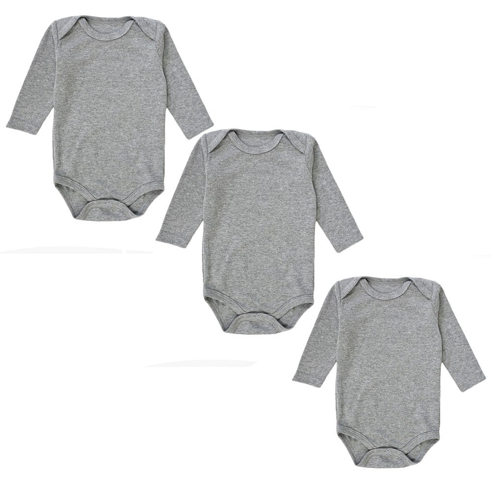 3-Pack Long Sleeve Bodysuits for Infant Girls Boys, (0-3 Months, Grey)
