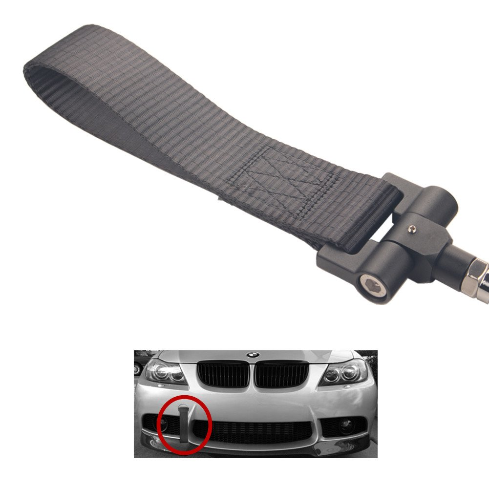 Dewhel Track Racing Style Tow Hook w//Blue Towing Strap Front Rear Bumper Screw on For BMW 1 3 5 Series X5 X6 E36 E39 E46 E82 E90 E91 E92 E93 E70 E71 MINI Cooper