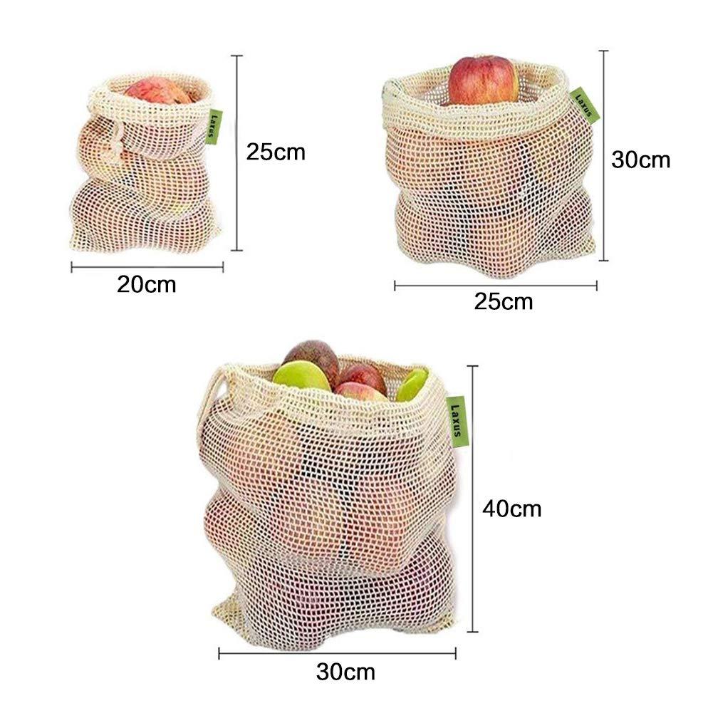 AYUTOY Sac /à L/égumes R/éutilisable Sac en Coton pour l/égumes Ensemble de 6 Sacs de Fruits et Sacs de L/égumes 2X S,2X M,2X L Sacs /à provisions Durable et Lavable avec Etiquette de Poids Tare