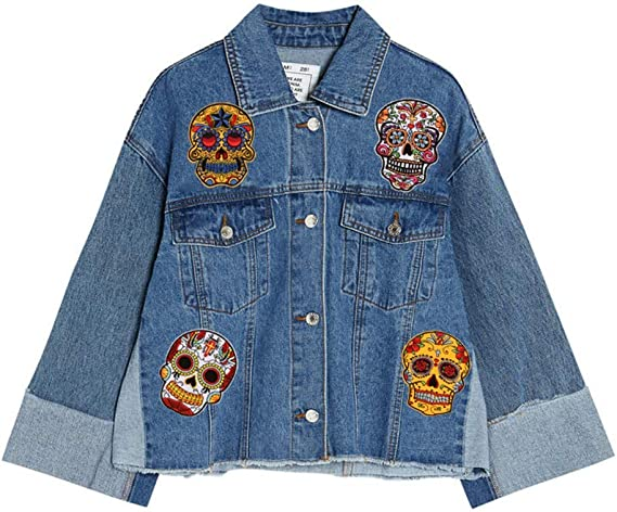 EXCEART 2 Pcs Skull Stickers Patches Skull Iron On Patches Sugar Skull Embroidery Transfer Flowers Appliques Rose Embroideries for Jacket Jeans Clothes DIY Decorations