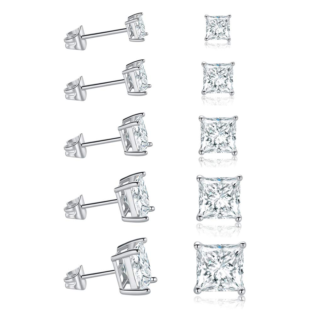 MDFUN 18K White Gold Plated Princess Cut Clear Cubic Zirconia Stud Earring Pack of 5 Pairs by MDFUN