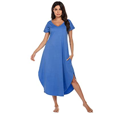 Ekouaer Sleepwear Women's Casual V Neck Nightshirt Short Sleeve Long Nightgown S-XXL at Women's Clothing store