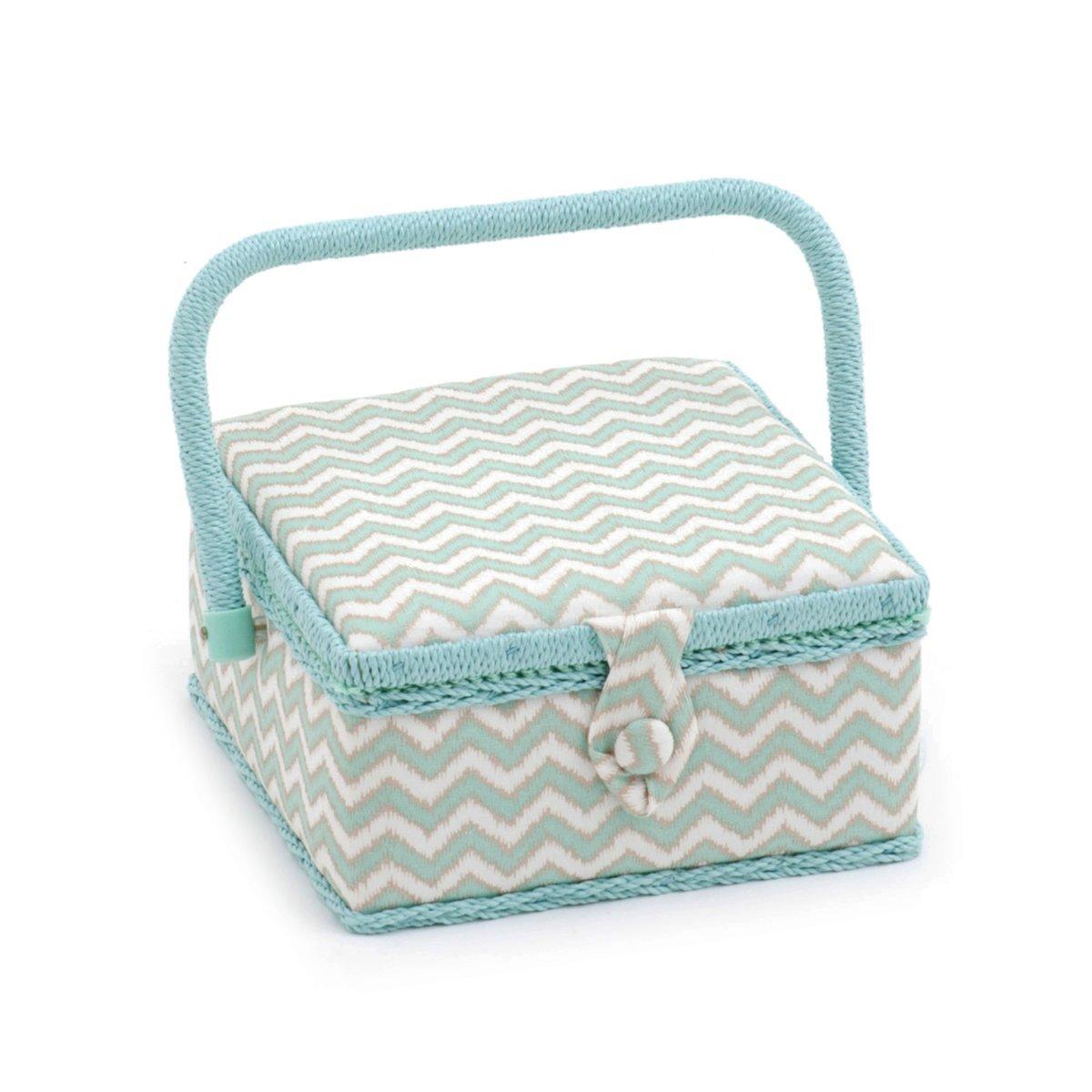 HobbyGift Groves esclusivo: scatola da cucito (S): quadrato: scribble chevron, misto cotone, assortiti, 20x 20x 11cm MRS\269