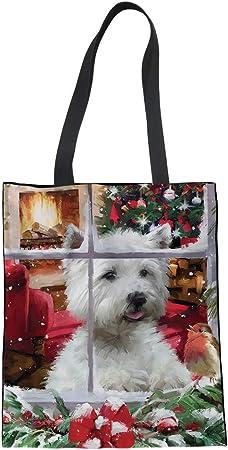1-christmas Westie L Nopersonality Mode d/écontract/ée Toile de coton Shopping Tote Sac /à provisions Big Tissu