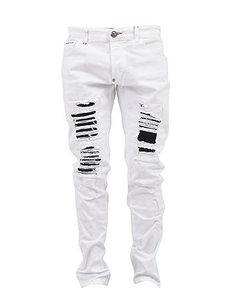 bd290913a3d Philipp Plein - Jeans - Homme Blanc Weiß - Blanc - W48  Amazon.fr ...