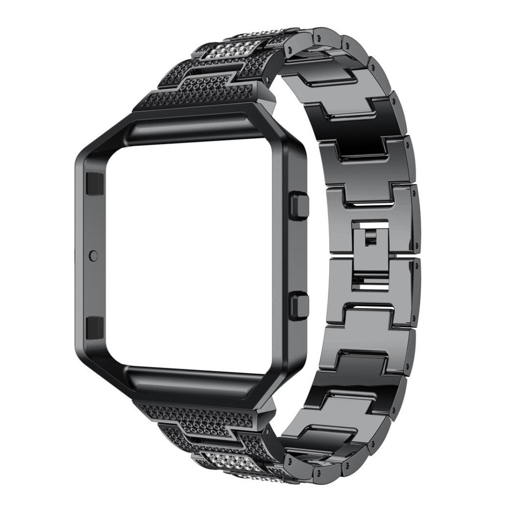 For Fitbit Blaze Bands With Metal Frame, Gotd Luxury Alloy Crystal Watch Band Wrist Strap With Metal Frame For Fitbit Blaze, Large Small (Black)
