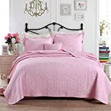 queen quilt solid pink - 3-Piece Comforter Set Embroidered Cotton Diamond Floral Agnle Bedspread Patchwork Quilt Sets Queen Pink
