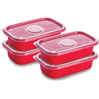 Conjunto de Potes Retangulares Pop com 4 Unidades Plasútil Vermelho