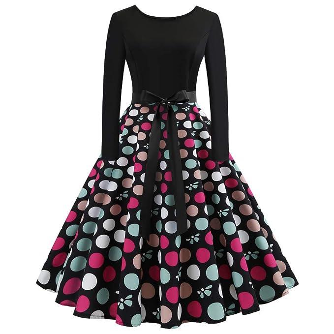 86600b78ab5822 JUSTSELL 1950er 50er Kleider für Damen Herbst,Frauen Polka Dots Drucken  Aline
