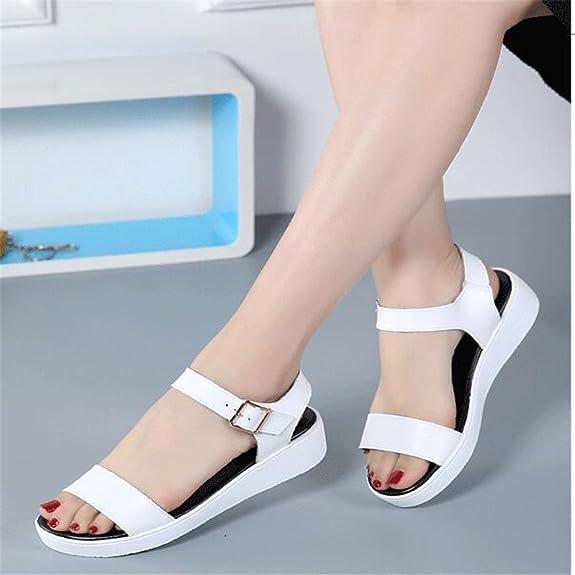 XZGC con Suole morbide Le Donne Incinte Flat Sandals Anti-Skid Semplice Piatto Sandali, 34 EU, Bianco