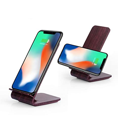 Para Iphone 8, Iphone 8 Plus, Iphone X, Sannysis 2-coil cargador inalámbrico de carga rápido de madera Qi wireless cargador iphone Inalámbrico qi ...