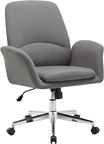 NOVIGO Upholstered Home Office Chair with Comfy Back Support for Conference Room Study Grey BIFMA Certified