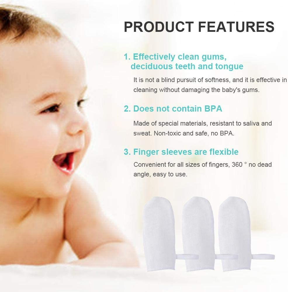Volwco 6pcs// Set Baby Cotton Gauze Finger-cot Soft Safety Elastic Finger Brush Tongue Cleaning Yarn Toothbrush Tool for Kid Mouth Cleaning
