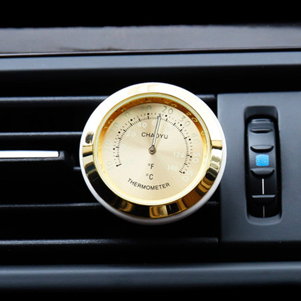 Txian Mini Car Thermometer Air Vent Classic Car Temperature Gauge (38x38x17mm) (Gold)