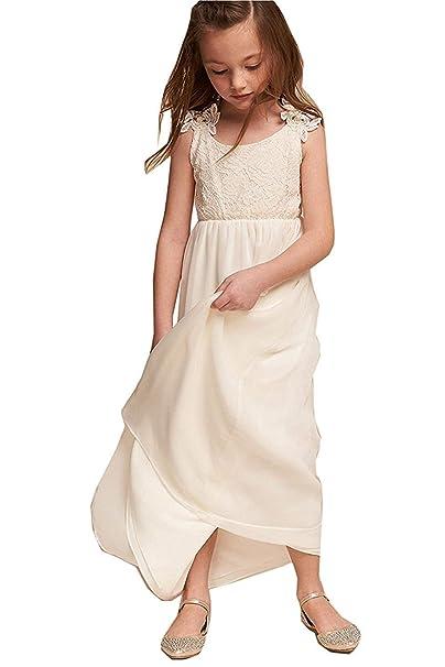 MerryGirl Vestidos de niña de Las Flores de Blusa de Encaje Vestidos de Primera comunión de Gasa de Abajo: Amazon.es: Ropa y accesorios