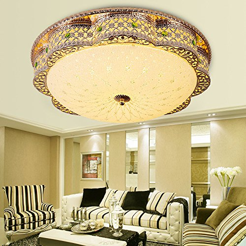 Lampshade Pendant Light Fyios Crystal Ceiling Lamp, European Style Living Room Crystal Lamp, Round Led Crystal Ceiling Lamp,38Cm