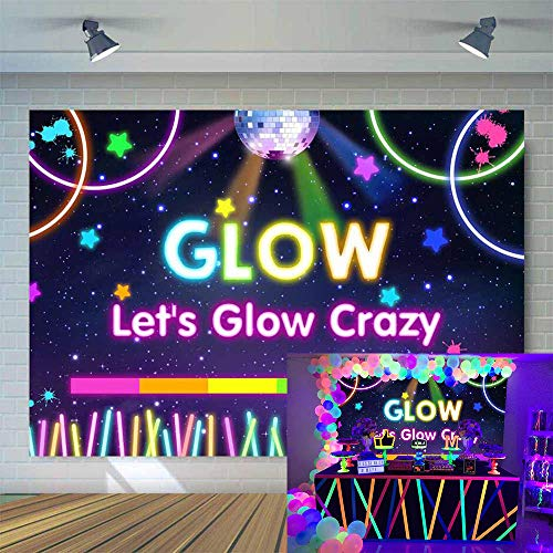 Allenjoy 7x5ft Neon Glow Backdrop Let's Glow in The Dark Photography Background Splatter Blacklight Sleepover Party Banner Adult Kids Birthday Decoration Supplies Photo Booth Props -