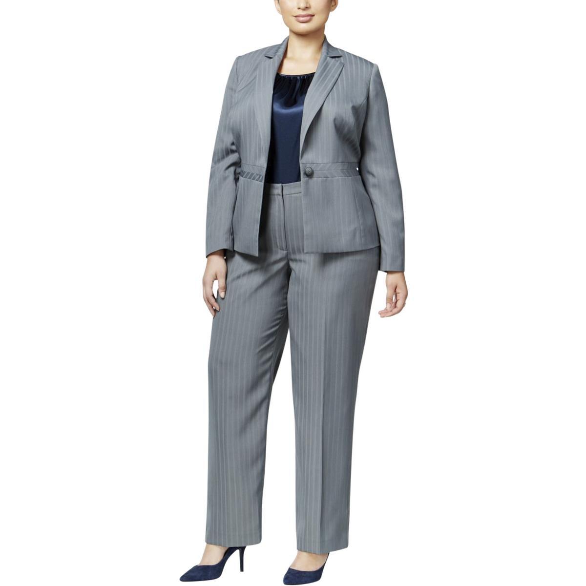 Le Suit Women's Plus Size Stripe 1 Button Jacket Pant Suit with Cami, Stone/Midnight, 18W