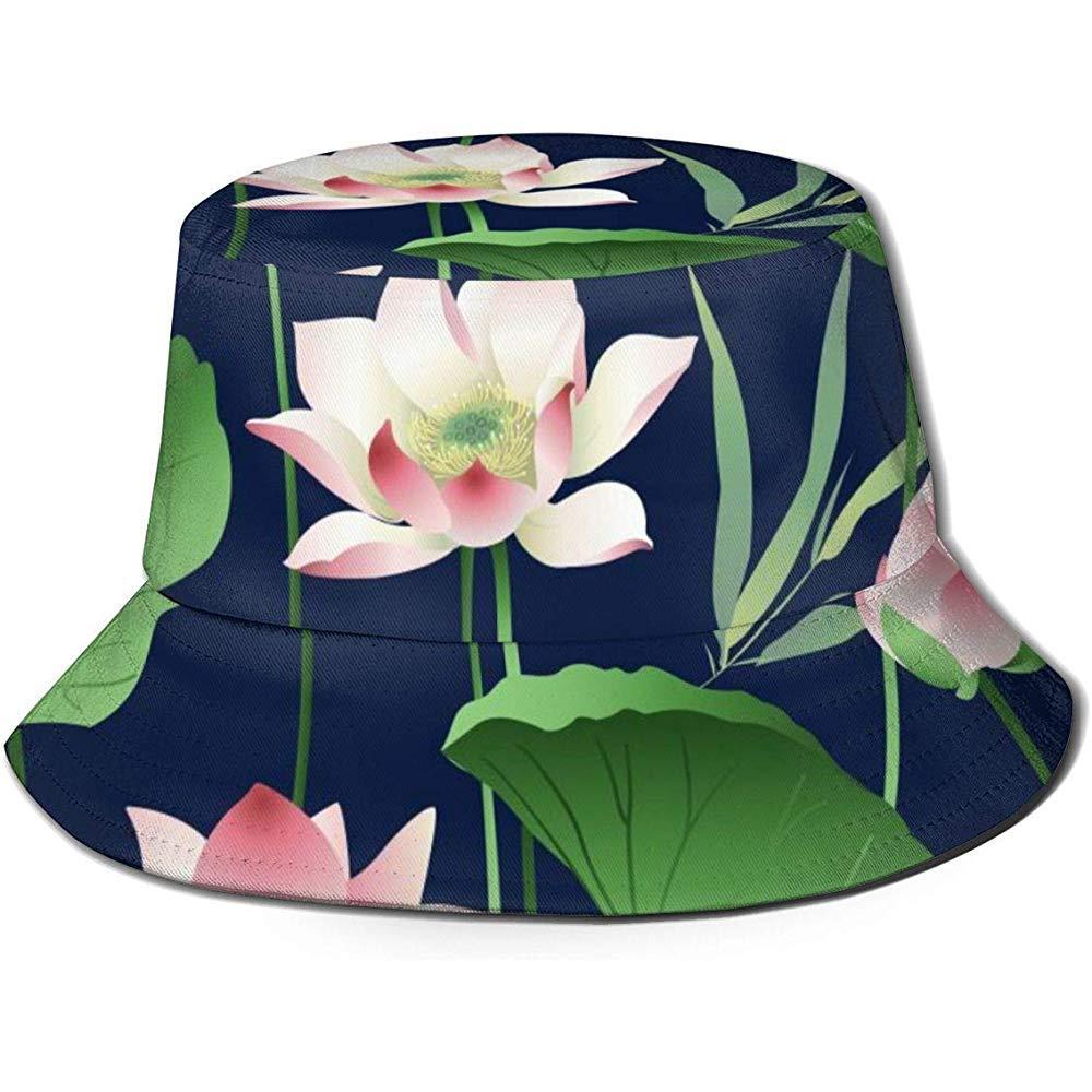 Baobei-shop Flores de Loto y Hojas Unisex Sombrero de Cubo ...