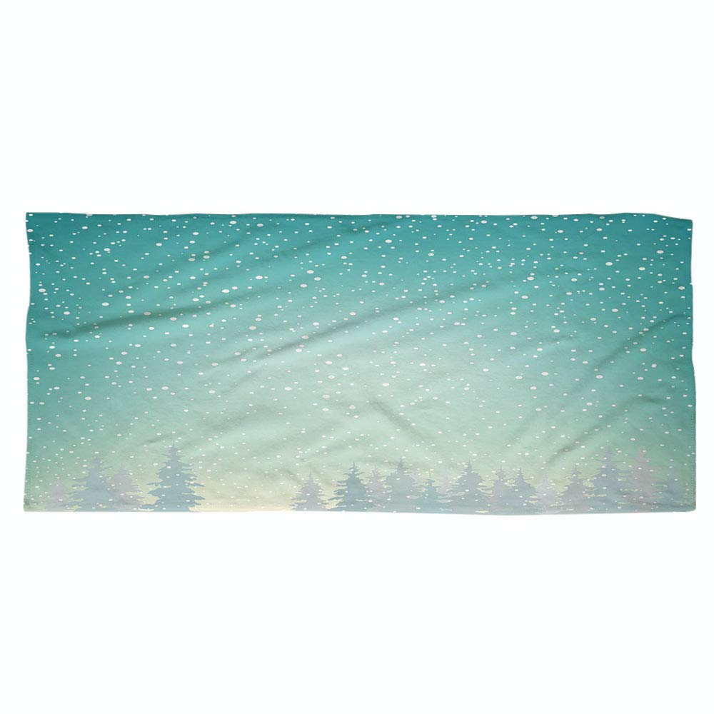 iPrint Large Cotton Microfiber Beach Towel,Winter,Snow Falls on The Spruce Forest Fir Trees Seasonal Nature Woods ICY Cold Xmas Time Decorative,for Kids, Teens, and Adults