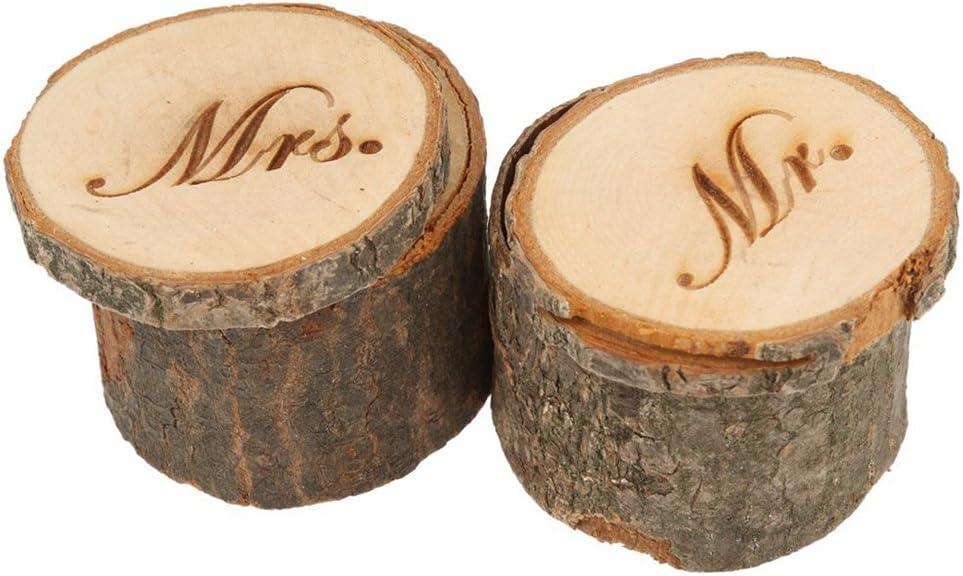 2pcs madera estampado Mr Novios boda anillo almohada portador caja: Amazon.es: Hogar