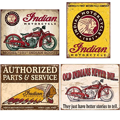 (Indian Tin Sign Bundle - Indian Scout, Indian Motorcycles Since 1901, Authorized Indian Parts and Service, Indian - Better Stories)