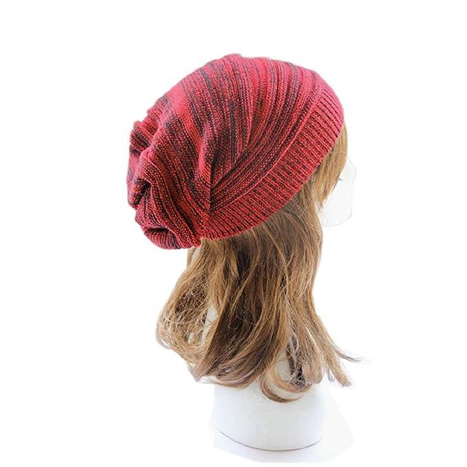 266b1fdd3de Sandistore Unisex Knit Baggy Beanie Beret Winter Warm Oversized Ski Cap Hat  (Black) at Amazon Women s Clothing store