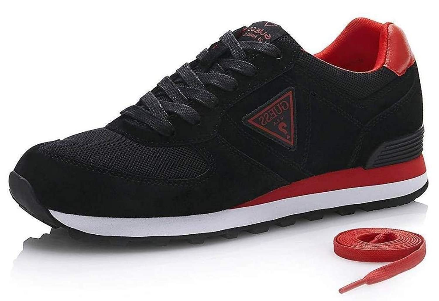 #Guess Charlie Black Red Leather Mens Trainers Shoes