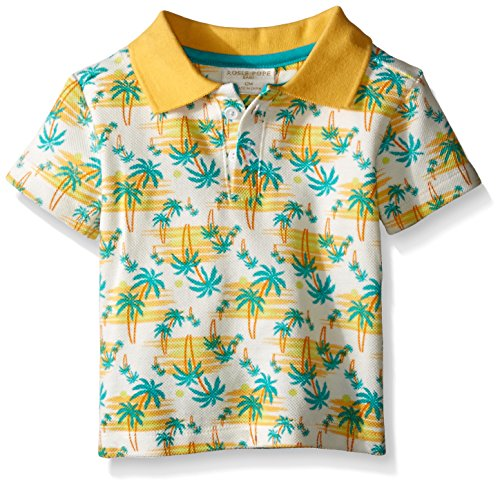 Price comparison product image Rosie Pope Little Boys Palm Trees Short Sleeve Cotton Polo,  Pale Marigold,  12 Months