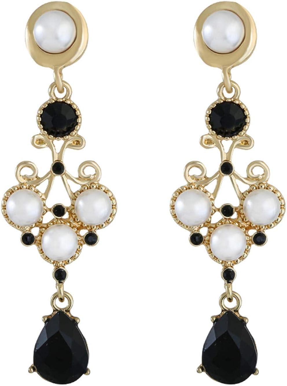 Aretes colgantes para mujer en plata de ley larga Estrella con los mismos pendientes retro de temperamento con gota de perla Regalo elegante y especial SDHJMT