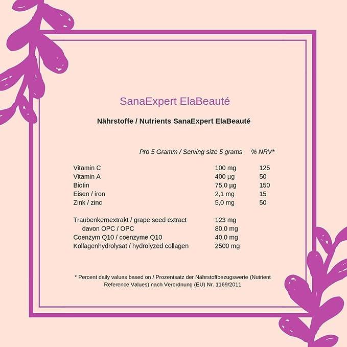 SanaExpert ElaBeauté Suplementos con colágeno, Q10, OPC, zinc y vitaminas, colágeno para la piel y el pelo, colágeno en polvo, 150 gramos: Amazon.es: Salud ...