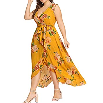 Amazon.com: Witspace Women Plus Size Summer V Neck Floral Print Boho ...