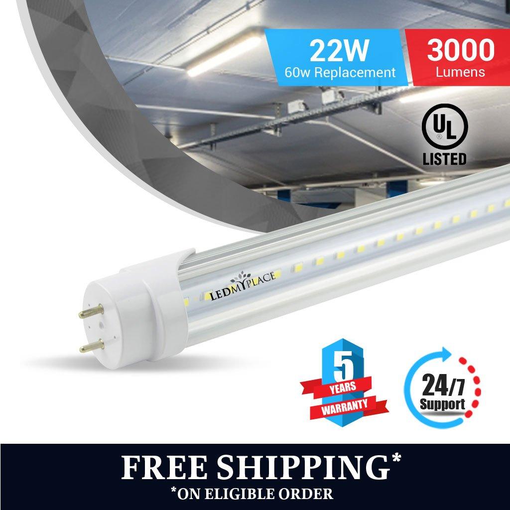 T8 4ft led tube 22w 6500K Clear 3000 lumens 4pcs Single Ended Power