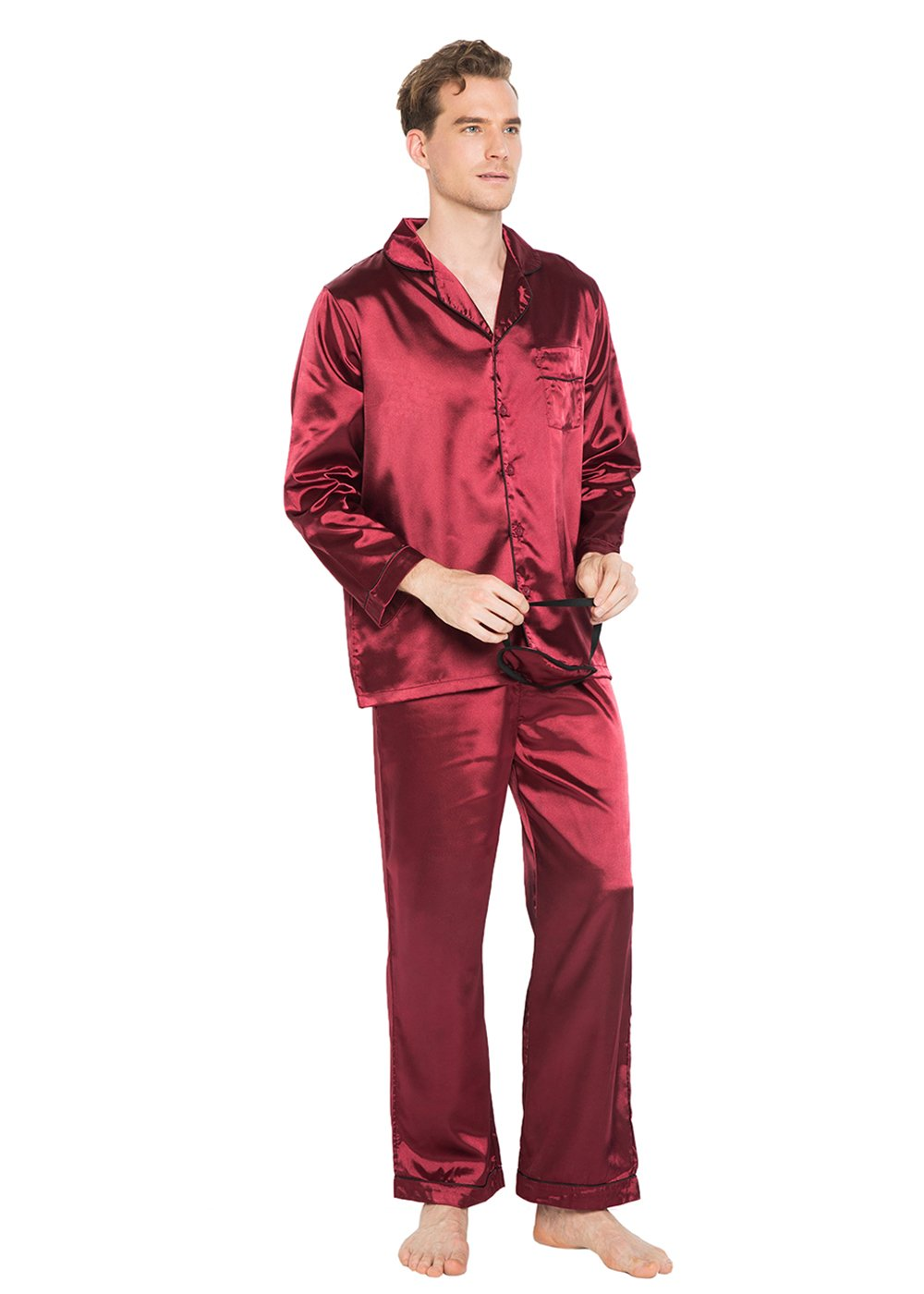 Like2sea Silky Satin Nightshirt Men, Long Lightweight Pajamas, WineRed M