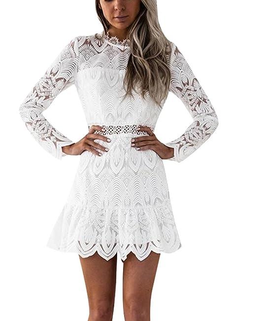 Mujeres Vestido de Fiesta Plisado Mangas Largas Vestido de Fiesta de Coctel Blanco S