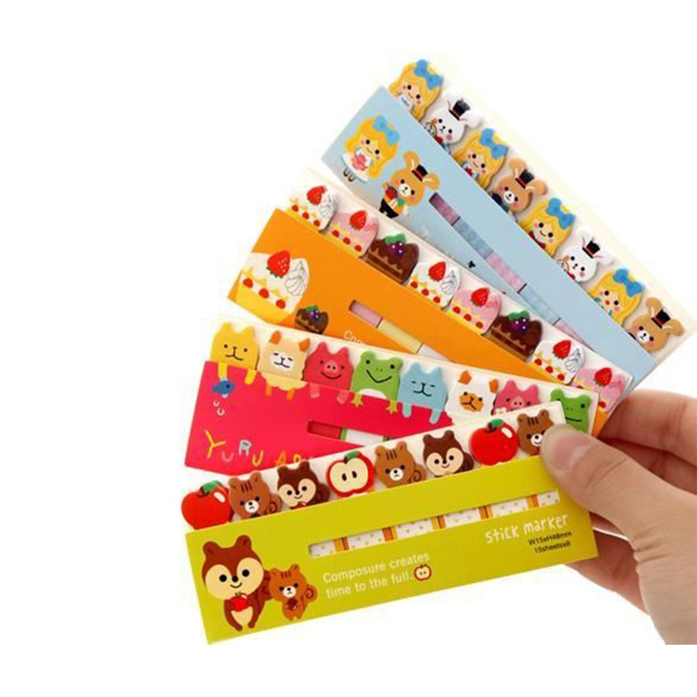 Cute Animal Removable Adhesive Sticker Bookmark Marker Memo Flags Index Tab Sticky Notes 120Sheets Aszune