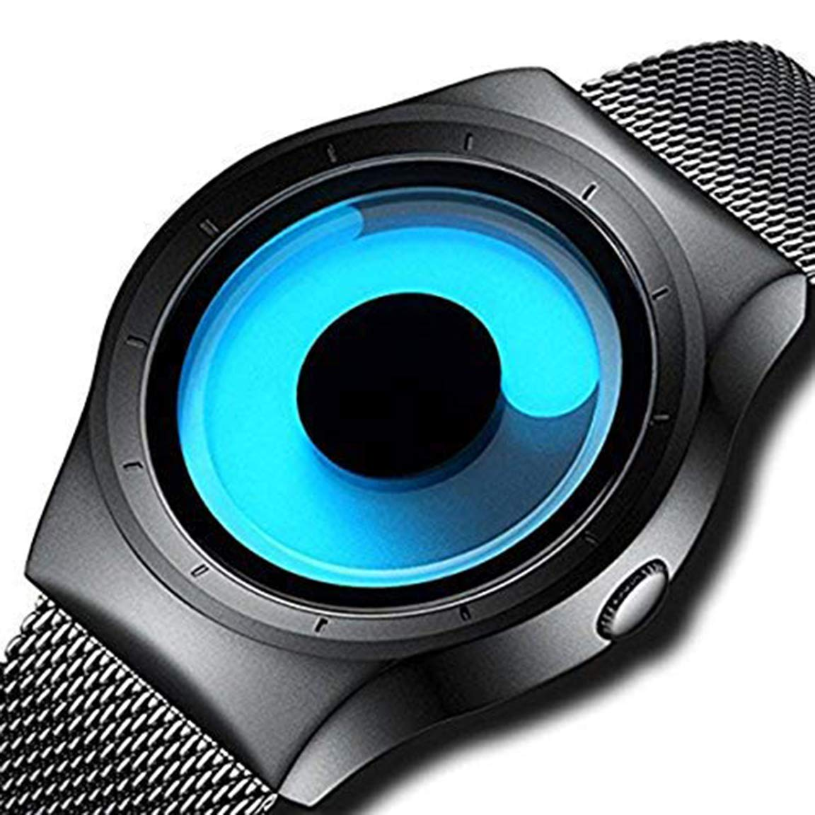 Horse Head Swift Movement Blue Spinner Dial Black Shepard Metal Belt Men's & Boy's Watch - BLNUON