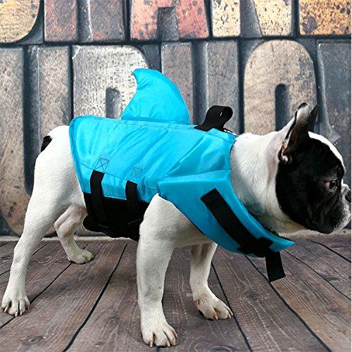 Zehaer Ropa para Perros Chaleco Salvavidas para Perros Perros pequeños Patrón de Tiburones Seguridad en el Agua en la...
