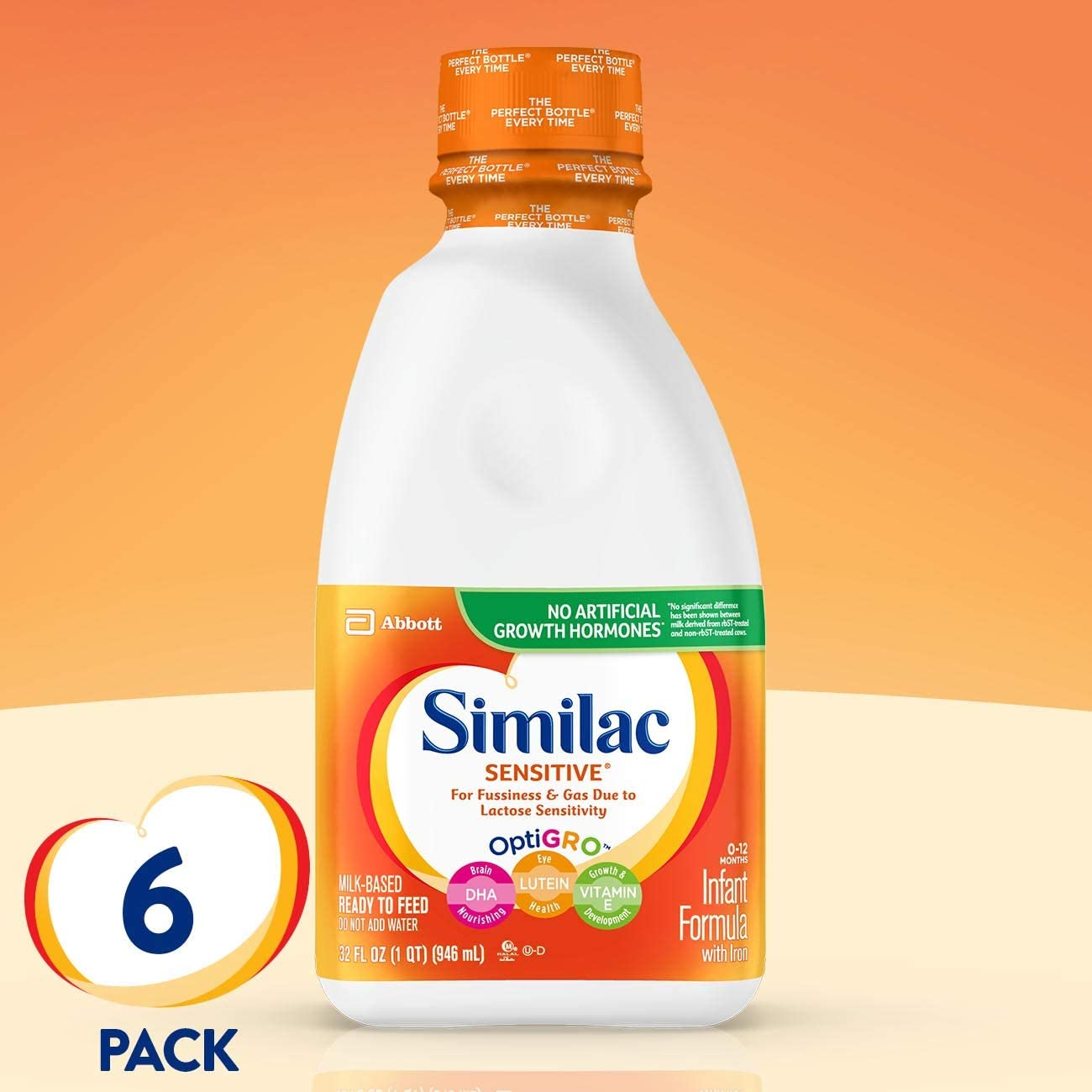 B000ARTNRE Similac Sensitive Infant Formula with Iron, Ready to Feed, 1 qt (Pack of 6) (Pack May Vary) 61YtFC2m8YL