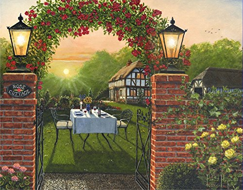 Posterazzi Dinner for Two - Rose Cottage Poster Print by Richard Harpum (10 x 5)