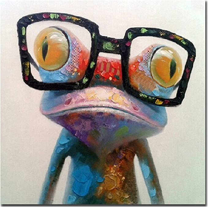 Fokenzary - Pintura al óleo hecha a mano, diseño de rana con gafas sobre lienzo estirado y enmarcado, listo para colgar, lona, 16x16in